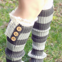 Ellie lace trim knit boot socks with buttons, leg warmers in two tone greys