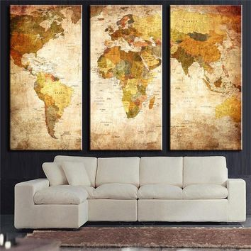 Vintage World Map Wall Art Print on Canvas 3-Panel