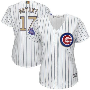 Womens Chicago Cubs Kris Bryant Majestic White 2016 World Series Champions Gold Program Replica Player Jersey