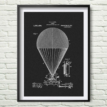 Airship 1913 Patent Art Illustration - Drawing - Printable INSTANT DOWNLOAD - Get 3 Colors Background *1*