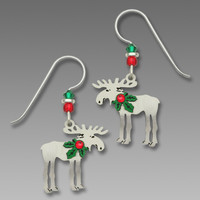 Sienna Sky Earrings - Christmas Moose with Holly