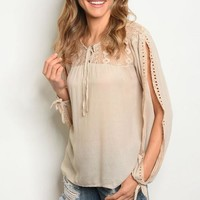 Women's Boho Slit Sleeve Tunic Blouse Taupe