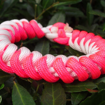 Paracord Survival Bracelet. Snake Weave with Hot Pink and White. 9""