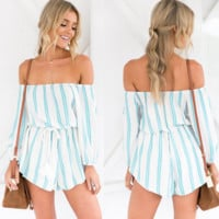 A word shoulder stripe long sleeve jumpsuits