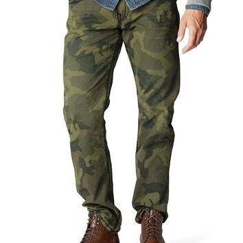 True Religion Ricky Straight Camo Super T Jean - Army Green Camo