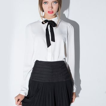 Colette Ribbon Neck Tie Blouse