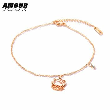 Hollow Cat Stainless Steel Summer Style Charm Ankle Bracelet