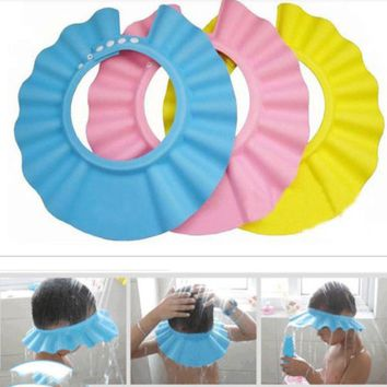 Hot Adjustable Baby Kids Shampoo Bath Bathing Shower Cap Wash Hair Shield Baby Kids Care Eye Protector Hat Bath Cap Hat