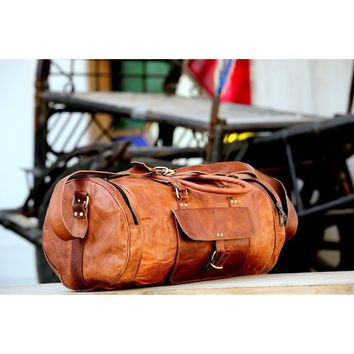 Men's Brown Vintage Genuine Leather large Travel Luggage Duffle Gym Bags