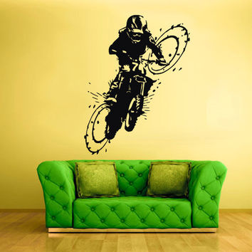 rvz1766 Wall Vinyl Sticker Bedroom Decal Tribal Dirt Bike Moto Motorcycle