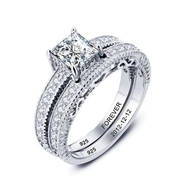 Sterling Silver Princess Cut Heart Design Promise Ring Set w/ Inner Engraving