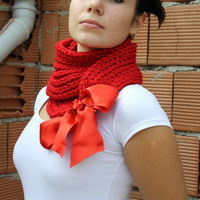 $45.00 FREE SHIPPING Red Scarf/Shawl/Neckwarmer/Bolero by denizgunes