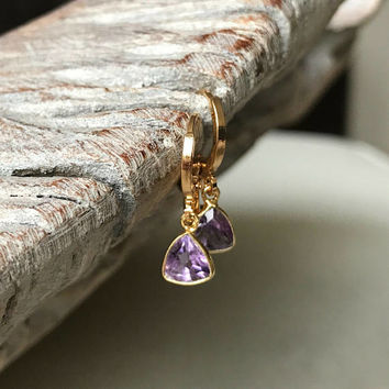 Amethyst Earrings, Gold Amethyst Earrings, Gold Amethyst Triangle Earrings, Amethyst Triangle Earrings, Amethyst Earrings Gold, Amethyst