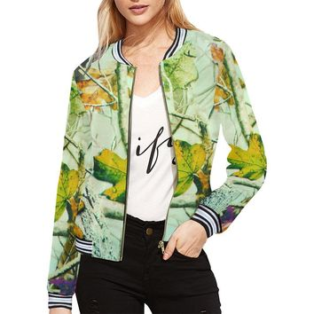 Autumn Wet Leaf Women's All Over Print Horizontal Stripes Jacket