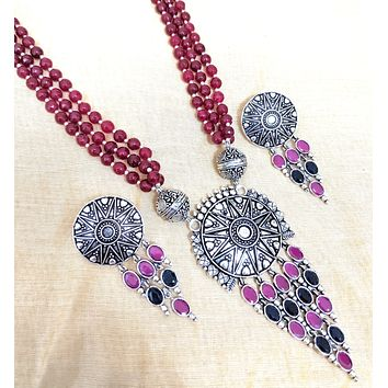 German silver Pyramid style circle pedant necklace and earring set