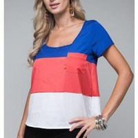 NAUTICAL TRENDY COLORBLOCKED POCKET BOXY TOP @ KiwiLook fashion