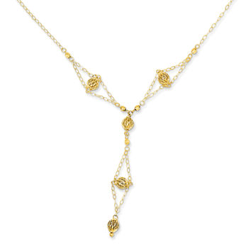 14k Yellow Gold Bead Lariat with 2in ext Necklace SF1871