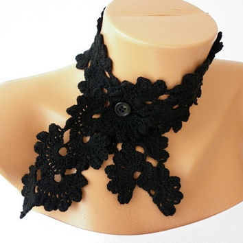 Black   Queen Anne's Lace Scarf  Necklace Scarf  Neckwarmer  Cowl  Crochet  Gift, Her, Teacher  50's style Christmas
