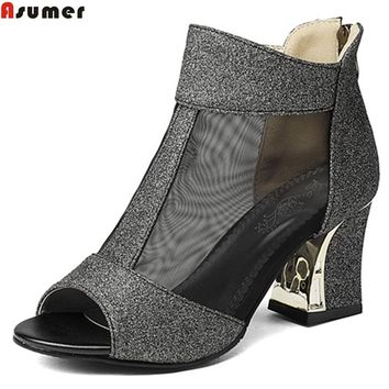 Asumer big size 32-43 fashion square heel summer new wome pumps zipper ladies prom shoes peep toe high heels shoes