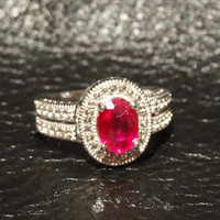Vintage Ruby and White Topaz Sterling Silver Ring Engagement