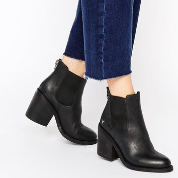Windsor Smith Mary Black Leather Zip Back Heeled Ankle Boots