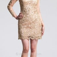 Elegant Lace Overlay Illusion Long Sleeve Homecoming Dressed By Dave And Johnny