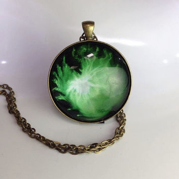 Green and silver Large Round Hand Painted Pendant Statement Necklace Hand painted jewelry  Hand Painted Glass necklace Alcohol Ink Jewelry