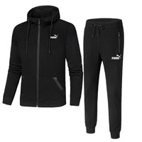 PUMA autumn and winter sports plus velvet hooded casual running trousers two-piece Black