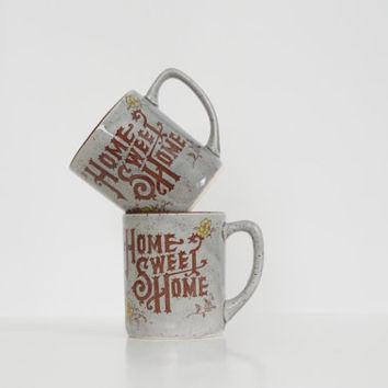 vintage home sweet home mugs // pair of earthenware mugs // vintage coffee cup set // unique coffee mugs // housewarming gift