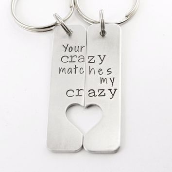 """""""Your crazy matches my crazy"""" - Deadpool Inspired Couples Keychain Set"""
