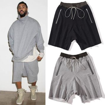 Top quality luxury famous brand black/grey shorts justin bieber kanye west summer men drawstring sweat shorts