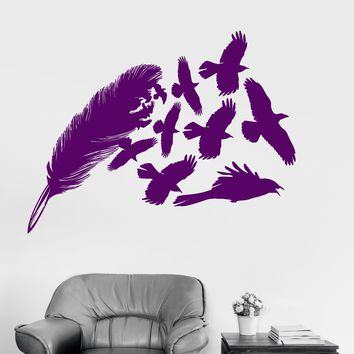 Vinyl Wall Decal Feather Birds Beautiful Decorations Room Art Stickers Unique Gift (ig3214)
