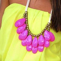 Teardrop Bib Necklace: Hot Pink | Hope's