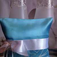 Hand painted blue Satin ring bearer pillow Beach sea wedding in pearly white personalized wedding favor