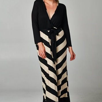 Plus Size Striped Color Block Maxi Dress