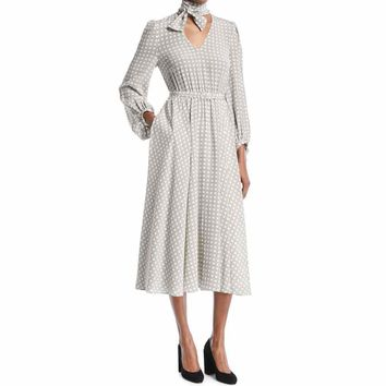 Co Collection Tie-Neck Plaid Silk Belted Midi Dress