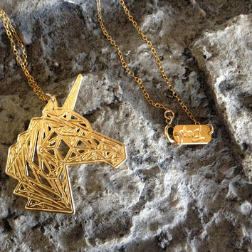 Gold Unicorn Pendant Geometric Animal Necklace Icon Sterling Silver Minimalist Gold Filled Statement Designer Jewelry Sketch Handmade Art