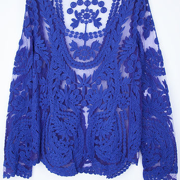 Royal Blue Sheer Floral Crochet Lace Top