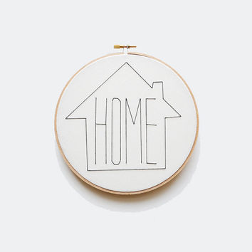 """HOME  - Black and White 7"""" Embroidery Hoop"""