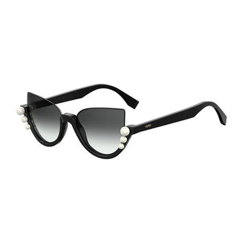 Fendi Blink Half-Rim Pearl Cat-Eye Sunglasses