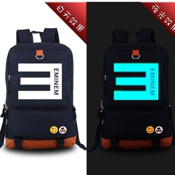 Eminem Hip Pop Rap Music Bad Meets Evil Luminous Military Printing Backpack Canvas Women Backpacks