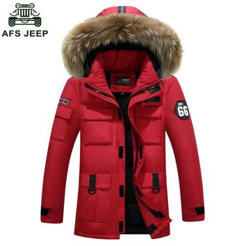 AFS JEEP Brand Thick Down Jacket Men 2017 Winter With Hood Detached Warm Waterproof Big Fur Collar For -40 Degrees D285