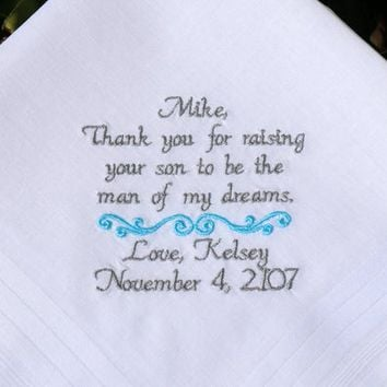 Father of the Groom, Father in law, Future Father in law, Future dad, Fiances dad gift, Embroidered Wedding hankerchief By Canyon Embroidery