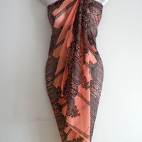 Orange Lace Pattern Women Pareo Dress Sarong Beach Bikini Swimwear Cover Up Long Scarf Shawl Wrap