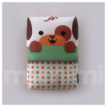 Puppy in Sleeping Bag Pillow, Bear Pillow, Stuffed Animal, Kids Cushion, Kawaii Animal, Baby Shower, Kids Room Decor, 9 x 6""