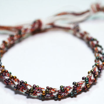 Kumihimo Fibre Beaded Bracelet Shoelace Yarn with Metallic Beads