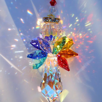 Suncatcher m/w Swarovski Crystal LARGE Angel Aurora Borealis Body and Colorful 7 Healing CHAKRA Colored Wings Lilli Heart Designs