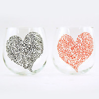 Set of 2 hand painted red wine stemless glasses - Sweetheart glasses