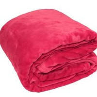 Solid Microfiber Plush King Mink Blanket - Hot Pink