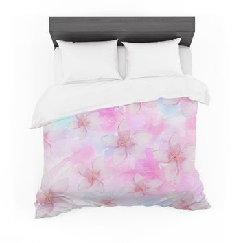 "Sylvia Cook ""Pastel Plumerias"" Pink Purple Digital Featherweight Duvet Cover"